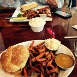 Barbecue sandwich with coleslaw and these incredible sweet potatoe fries and peach ketchup.