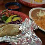 lunch portion shrimp tacos