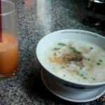 Fish porridge and Thai tea