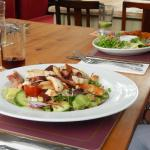 Chicken and bacon salad, scampi