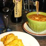 Home Made Chicken Soup and tostones and a Black stone merlot