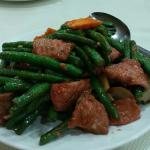 Sliced beef with string beans ($7.99)  Crunchy string beans and tender beef slices.