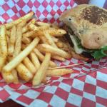 Seasoned fries were awesome!  Accompanied by cheeseburger on jalapeno bun
