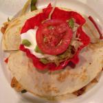 Shrimp and chicken fajita quesadilla !