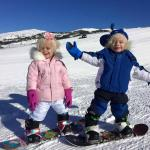 2 year old twins snowboarding!
