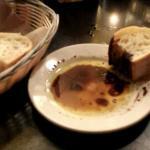 Butternut squash ravioli and bread with tasty oil n vinegar yum :-)