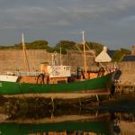 en fond la ville close, et en vert le bateau musée