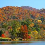 Autumn view over Beaver Lake toward Patton Mountain.