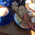 Smoked salmon and poached eggs - very tasty!
