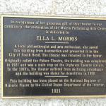 A plaque as tribute to Ella L. Morris.
