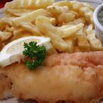 Cod, chips and mushy peas.