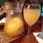 The Grilled Chicken Greek Salad - in the pink - and White Sangria, both were delicious. The brea