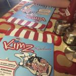 The menu and our breakfast of waffles and maple syrup at kimz diner. 8/08/15