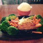 I had the salmon with teriyaki sauce with broccoli, carrots and ginger.  It was excellent.
