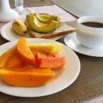 Breakfast in the hotel dining room... simple but delicious. Great avocados on toast...