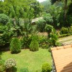 view into the garden from the top room balcony