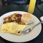 Shrimp Omelette with mimosa for breakfast. A must. Great service. Entire staff is amazing!