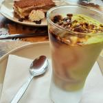 Tiramisu behind the pistachio/custard ice cream (also nice)