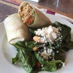 Delicious sandwiches and wraps, as well as a view of the interior decor and decorations at Sauce
