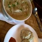 momos and wanton noodle soup