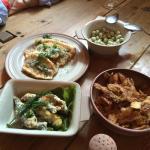 Fried herrings, marinated herrings, beans, potato peels