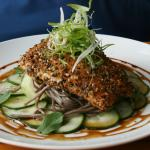 Arctic Char with Quick Pickled Cukes, Soba Noodles and Asian Greens
