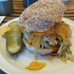 Texas Burger with Bar-b-que chips and slaw on the burger