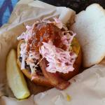 Wild boar cheddar burger.