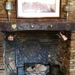 The fireplace inside the bar