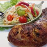 Thai grilled chicken with young papaya salad