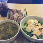 The Kale chicken salad and Lemon soup!