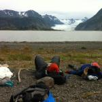 resting/chilling across from the Grewingk Glacier
