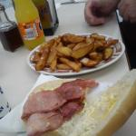Bacon barm and chips (no two chips the same)