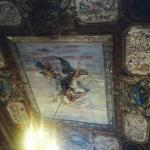Original frescoes on the ceiling in a breakfast room which used to be a ballroom