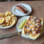 "Plain hot dog on pretzel roll; ""fries"", and The Strami sandwich"