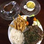 The Churrasco Grilled Steak with Guacamole and Chimichurri Sauce