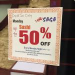 50% off Sushi on Mondays
