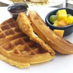 Macadamia chicken with cornbread waffles