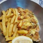Hake, Queen Prawns and Chips