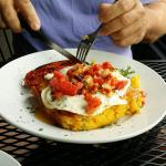 Amazing Basque eggs with chorizo and corn bread. Made our interest in the dalles improve