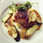 Slow Roasted Belly Pork, crushed new Potatoes, Courgettes, Honey & Mustard drizzle
