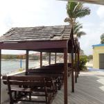 Outdoor dining with a great view of Green Cay