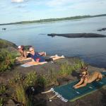 Yoga on Loon Ledge (in the middle of Mattawamkeag Lake)!
