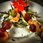 Grilled Shrimp Skewers with Cherry Wood Smoked Organic Mixed Green Bean Salad