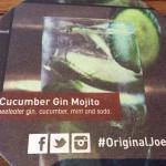 Pinot Grigio, Cucumber Mojito, MealShare philanthropy and menu selections.  Original Joe's Porta