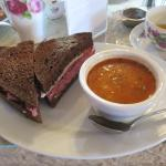 Corn beef sandwich and soup