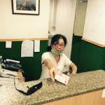 Receptionist Connie is always happy and willing to help travellers out with any request