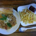 Spaghetti and fries!