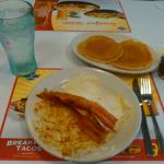 Bacon, eggs, hash browns and pancakes at Steak and Shake.