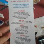 Menu, location, and pics of our food after we had already dug in!